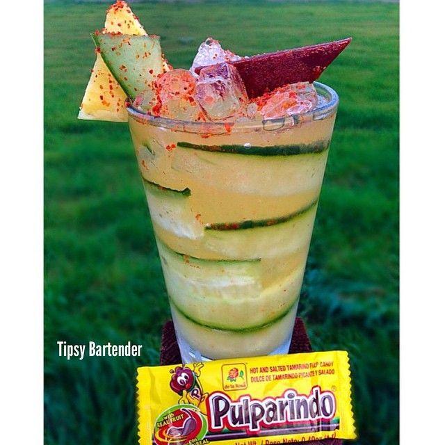 PINA PEPINO PALETA 1/2 oz. (15ml) Skyy Pineapple Vodka 1/2 oz. (15ml) Effen Cucumber Vodka 2 Dashes of Tajin 1 Pulparindo Candy (chopped up) Dash of Tabasco 1/2 oz. (15ml) Sweet & Sour Shake Well Top with Squirt and Tajin