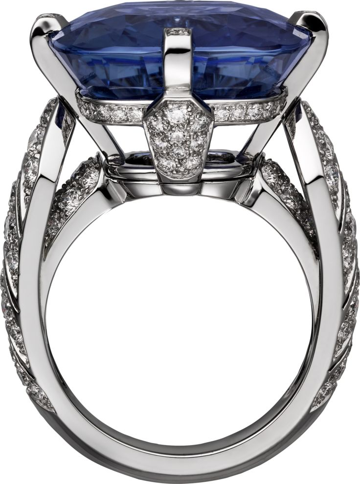 CARTIER. Incantation Ring - platinum, one 22.84-carat cushion-shaped sapphire from Ceylon, brilliant-cut diamonds. The sapphire can be worn as a ring or necklace.