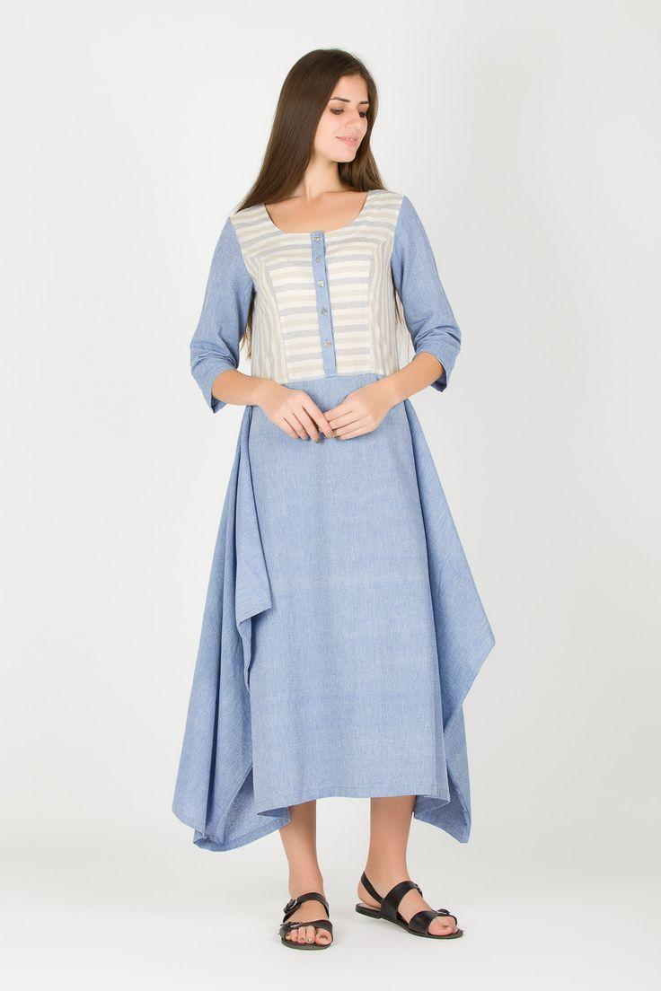 Organic Cotton Chambray Dress   Light Blue Sunday Brunch Dress