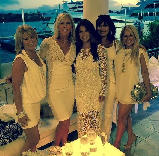 Vicki Gunvalson's Lace Panel White Party Dress | MK Collab Jade Dress | http://www.bigblondehair.com/real-housewives/rhoc/vicki-gunvalsons-lace-panel-white-party-dress/