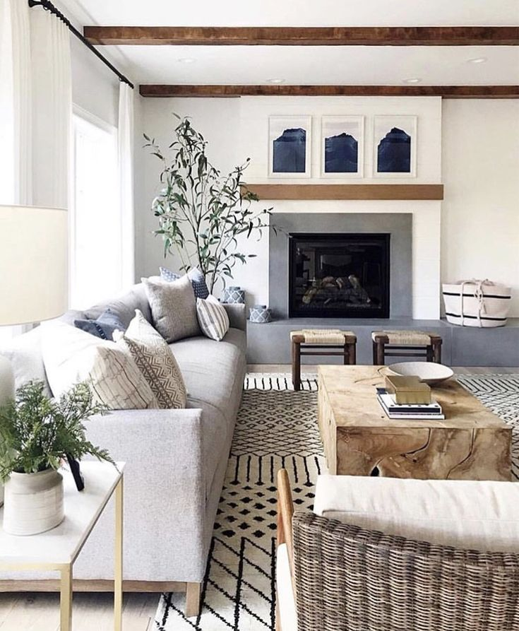 Neutral Living Room With Traditional Fireplace In 2019