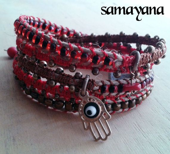 Bracelet Varanasi 5 turns red gold plated Charm Hamsa by Samayana