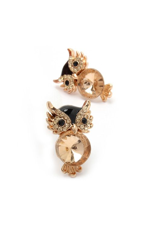 Champagne Crystal Owl Earrings on Emma Stine Limited