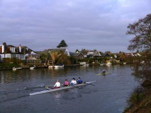 Thames Path west London: Rowers making for the start of the small boats Head Race