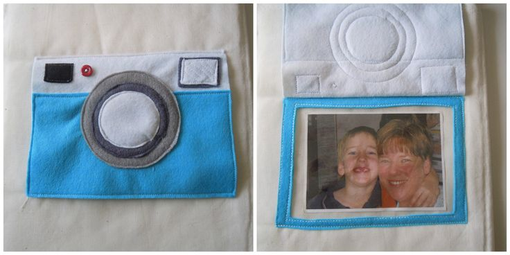 Quiet Book Page 1. Felt camera lift the flap. by elsieandjim