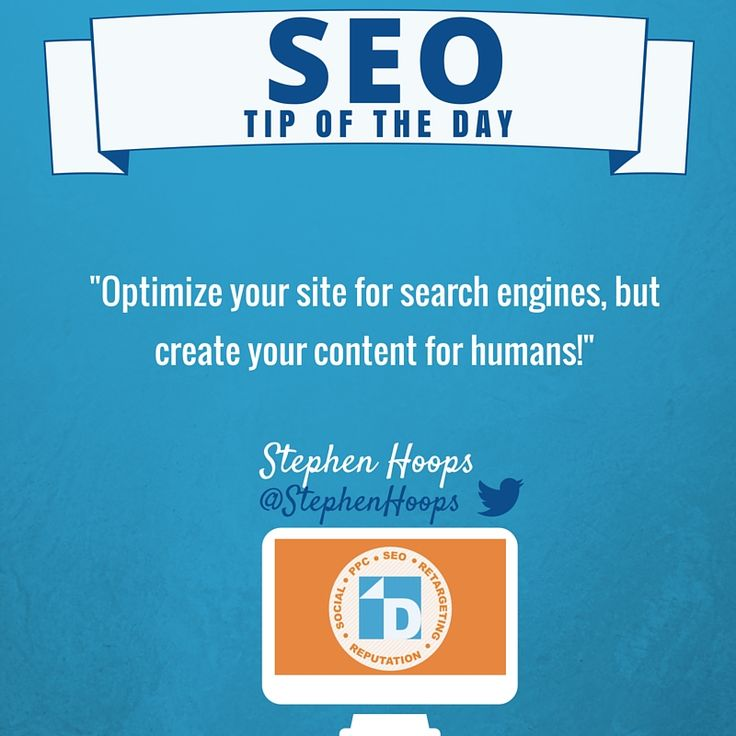 Stephen reminds us to create content for humans, while optimizing a site for search engines! #SEOTip