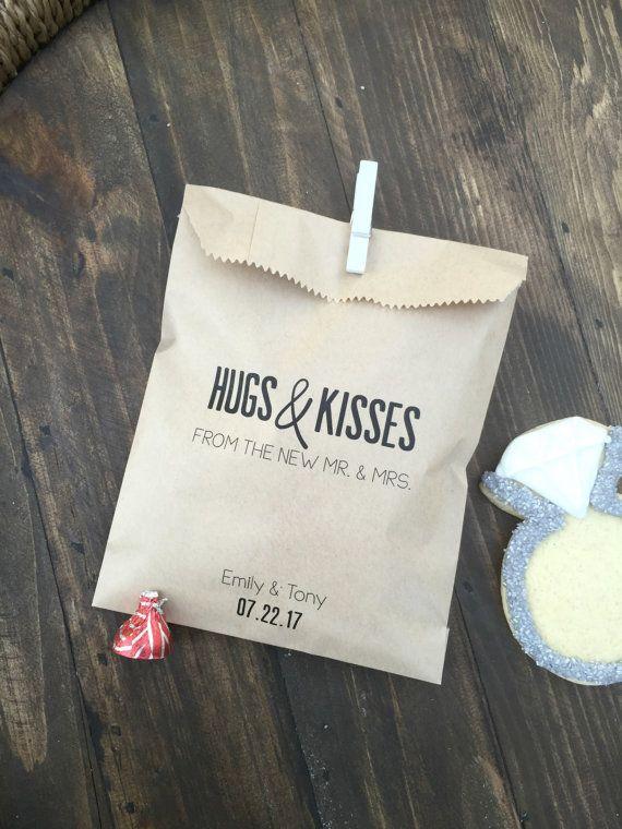 Custom HUGS & KISSES wedding favor bags by SALTEDDesignStudio