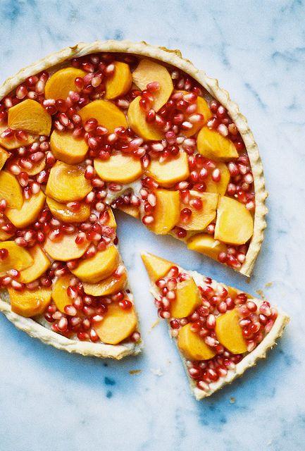 lebni tart with persimmon & pomegranate