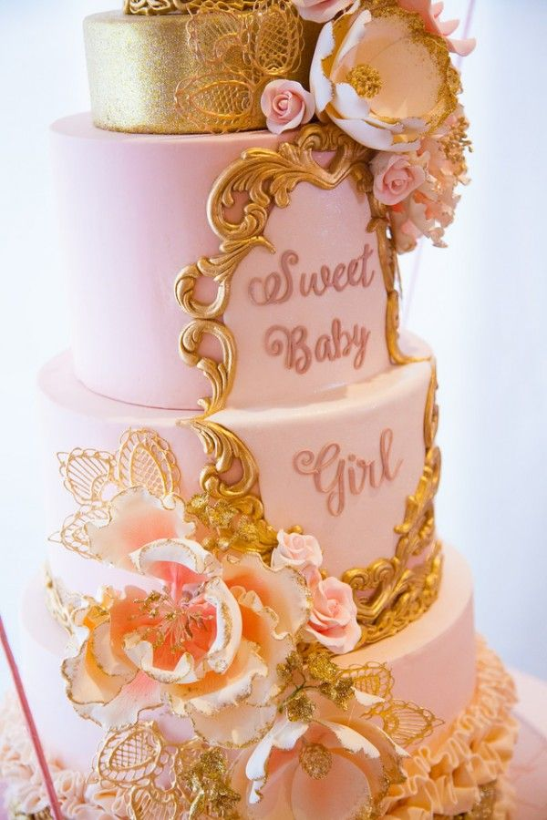 Pink And Gold Tutu Cute Baby Shower Cake Detail Baby