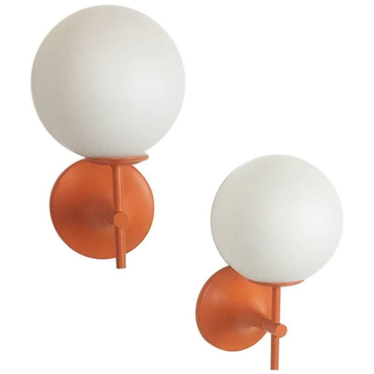 Set of Two Original 1970s Orange Wall Lights by Max Bill for Temde, Switzerland