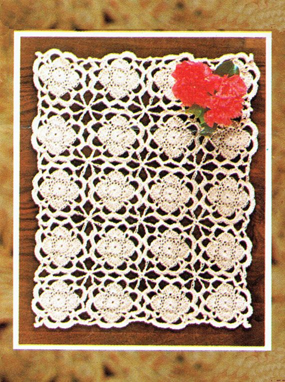 PDF Vintage SUZETTE Tablecloth Runner Crochet Pattern Robin