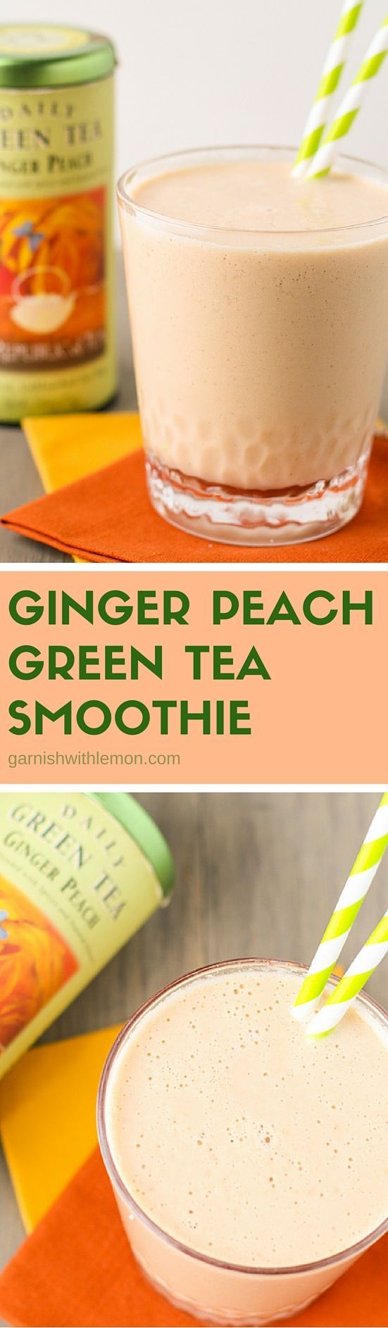 This quick and refreshing Ginger Peach Green Tea Smoothie is packed with healthy antioxidants plus it has a subtle kick from freshly grated ginger.