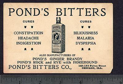 Pond's Bitters Malaria Cure Ginger Brandy Rock Rye School Teacher Trade Card.