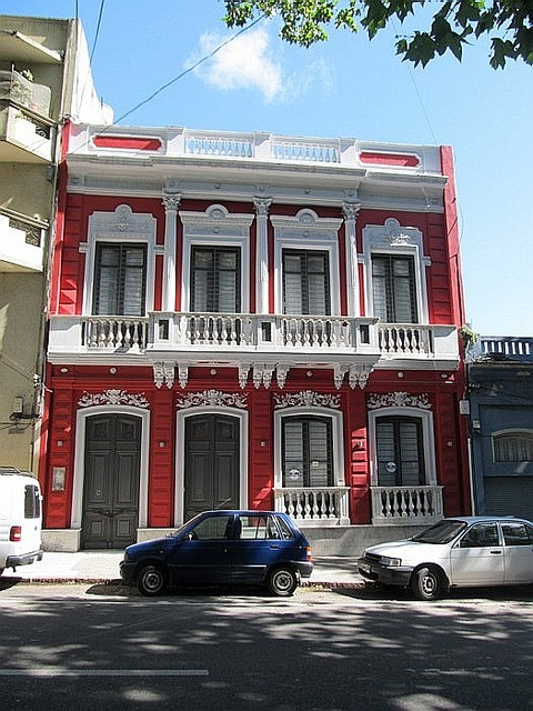 Montevideo, Uruguay; I love the boldness of the red broken up by the white trim.