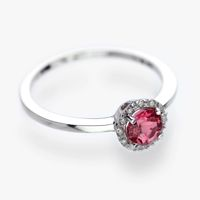 White 9k gold ring set with pink tourmaline surrounded by diamonds check it out at http://grasjewellery.com/index.php/component/virtuemart/rings/diamond2013-05-23-18-35-06/591018-detail?Itemid=0