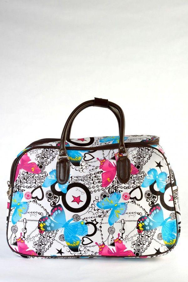 Τσάντα χειρός και ώμου, μικρό μέγεθος, άσπρη με σχέδιο πεταλούδες, δερμάτινη υφή.  Ταξιδιού και επαγγελματικής χρήσης (για κομμώτριες, αισθητικούς κλπ)