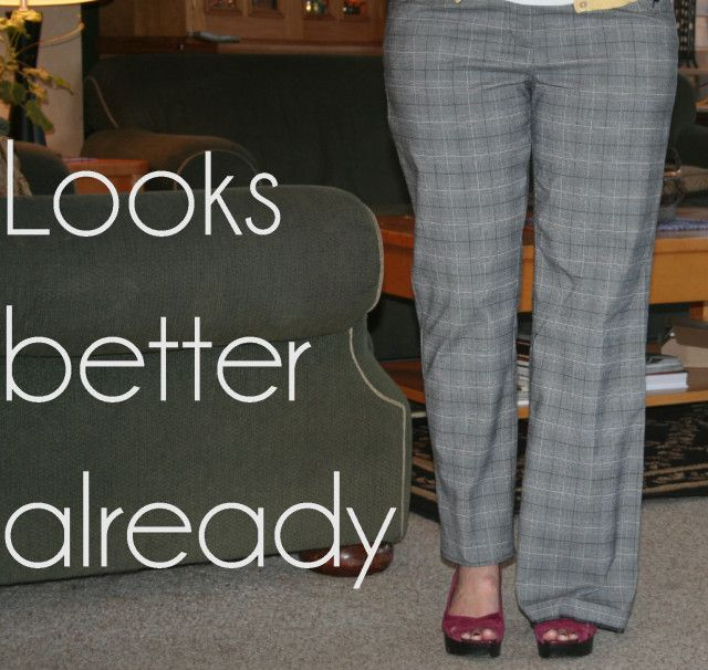 tutorial for creating skinny pants from wide legs better, and links to other upcycles she's done