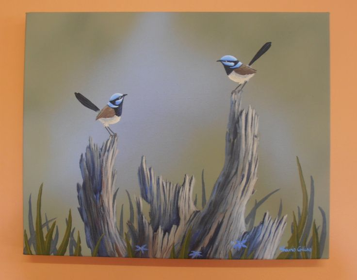 Blue Fairy Wrens in the Bush -  Acrylic Painting By Australian Artist Travis Collins by CarawayKeepsakes on Etsy