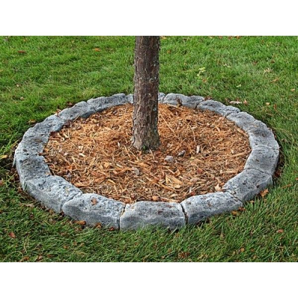 Border stone tree edging castle gray 600 600 for Stone rock garden designs
