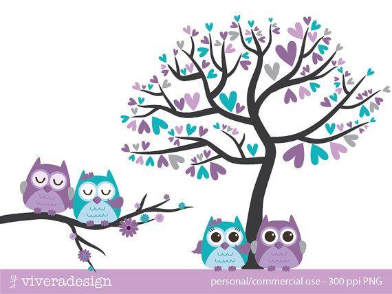 Eule Liebe Vögel - in lila, Türkis und grau - Digital ClipArt