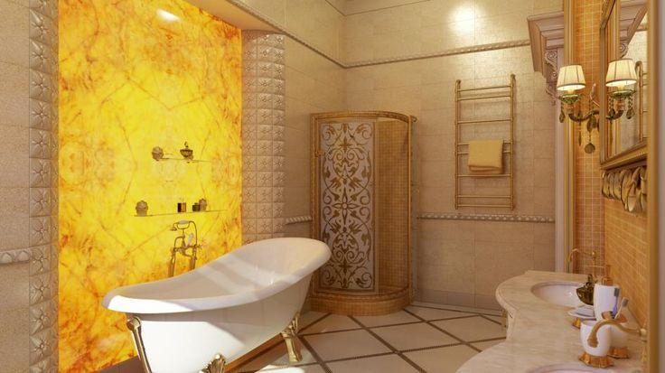 Шикарная ванная комната от участника Leoncio23! Дизайн-проект для конкура от компании Margraf Russia.  Здесь мы видим роскошную панель из жёлтого оникса – подсветка делает весь интерьер волшебным, а мрамор дарит умиротворение. Полы и стены облицованы мрамором, панель вокруг зеркала и стены в душевой кабине выложены мозаикой, из итальянского мрамора сделана и столешница.