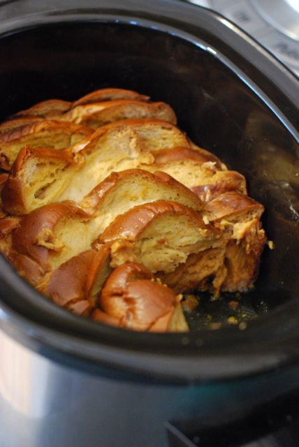 Almond-vanilla bean French toast in slow cooker.  1loaf day-old challah bread  2cups heavy cream  2cups whole milk  8large eggs  1teaspoon almond extract  1vanilla bean, beans only  5teaspoons granulated sugar  1teaspoon ground cinnamon  1pinch kosher salt