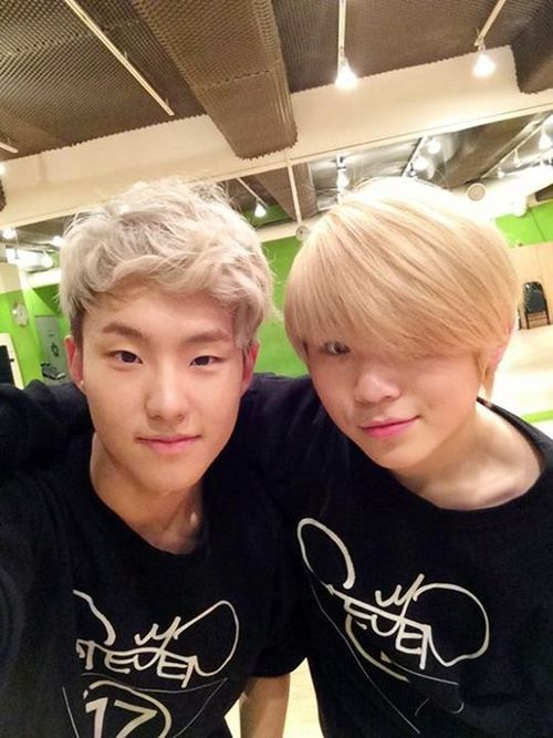 Soonyoung and Jihoon of Seventeen. Woozi looks hella emo with that hair.
