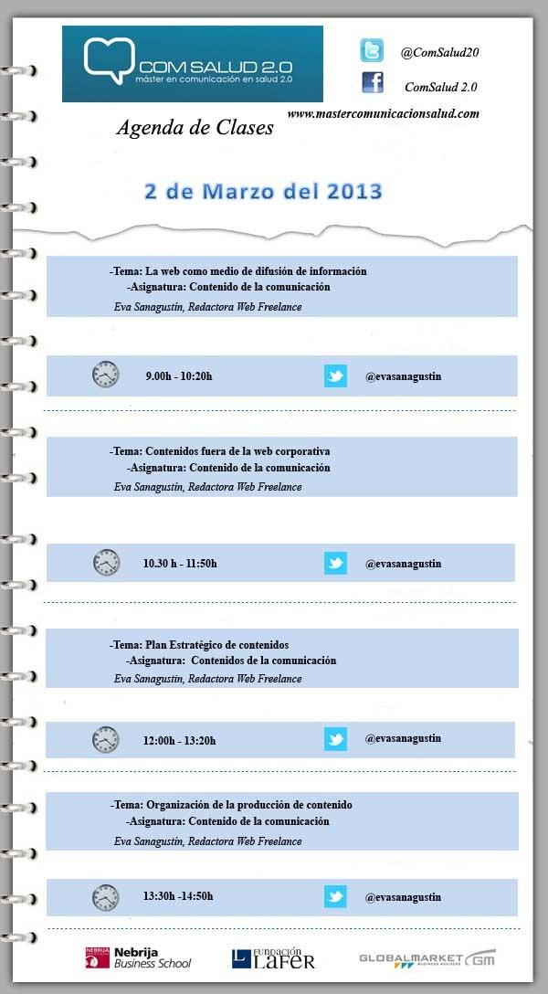 Agenda 2 de Marzo del 2013 - Máster en Comunicación en Salud 2.0 (COMSALUD 2.0)
