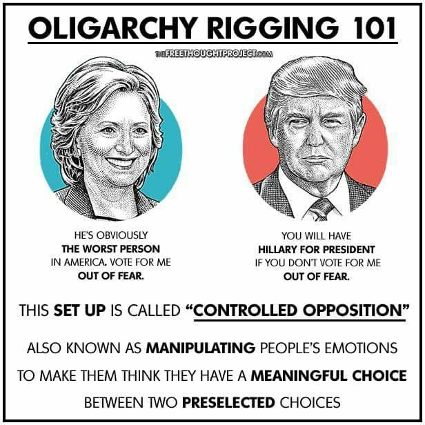 Stop allowing corporations and their paid puppets to manipulate us into voting against our own best interests. Go look up Jill Stein and learn about her and the Green Party platform. You'll be pleasantly surprised. #JillnotHill