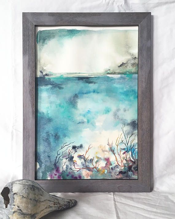 Ocean landscape Beach art 12x18 Framed Original watercolor