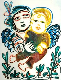 Little Angels Oil on paper: Mirka Madeleine Mora (1928-.) Australia