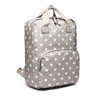 (Polka Dots Grey) Buy 1 Get 1 at 20% Off Miss Lulu Women Backpacks School Bags F…
