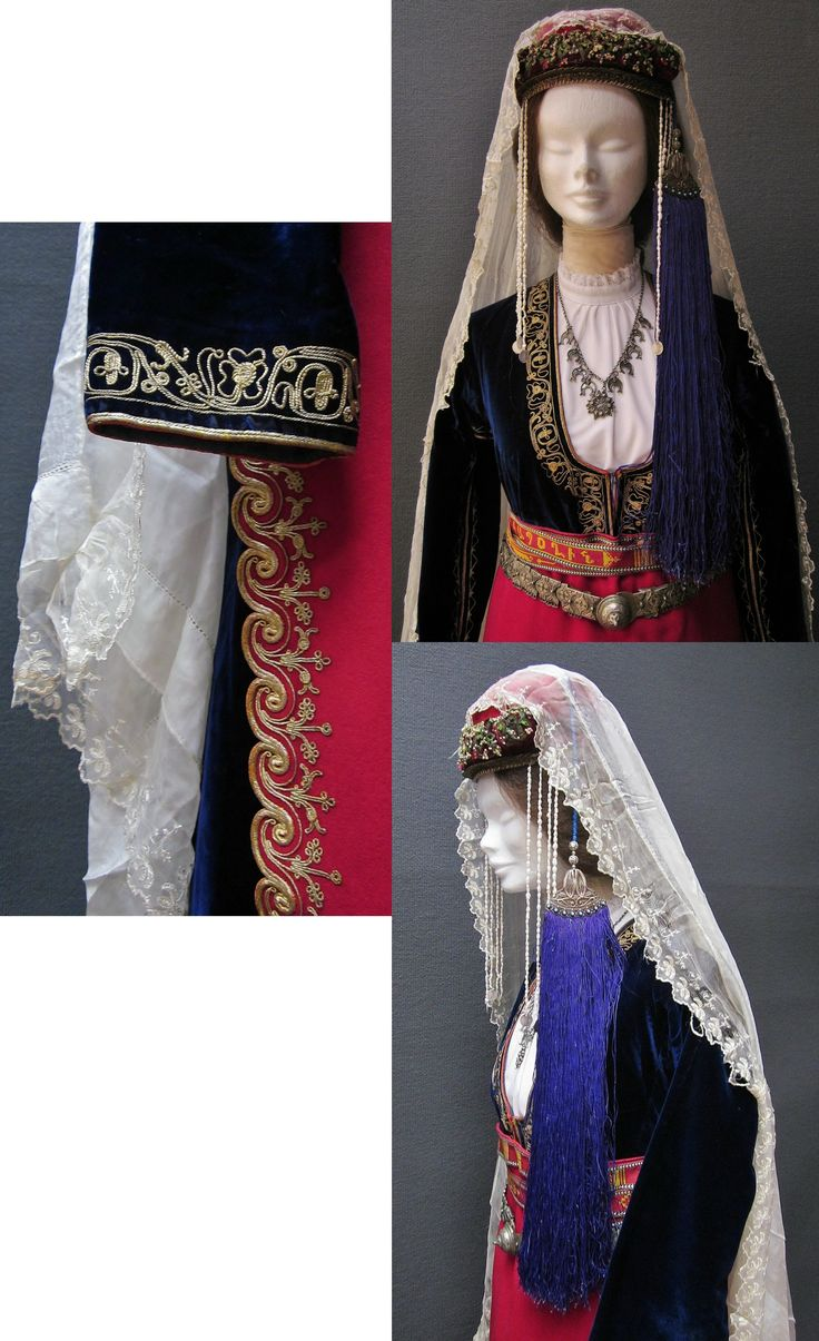 Close-ups of the traditional festive costume from the Olti/Oltu region (North of Erzurum province).  Armenian (well-to-do), early 20th century.  The velvet robe, the apron and the large silk headscarf have embroidered edges.  (Kavak Costume Collection - Antwerpen/Belgium).
