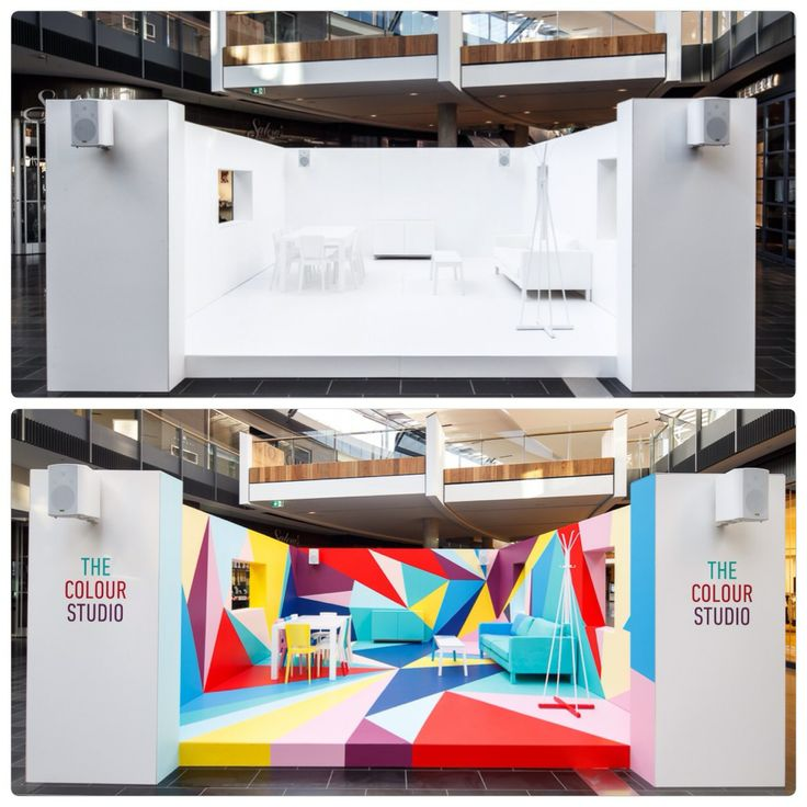 The Colour Studio transformation,. Art installation before and after