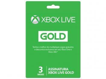 Live Gold 3 Meses para Xbox One e Xbox 360 - Microsoft