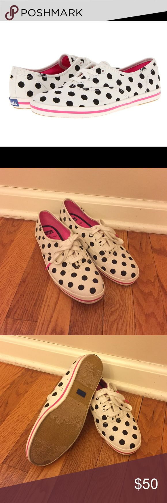 Kate Spade for Keds Kate Spade never worn keds sneakers. Some discoloration on the soles.  These Keds for Kate Spade New York sneakers are patterned in playful polka dots and trimmed with bright aglets. Lace-up closure and striped rubber sidewall. Crepe sole. kate spade Shoes Sneakers