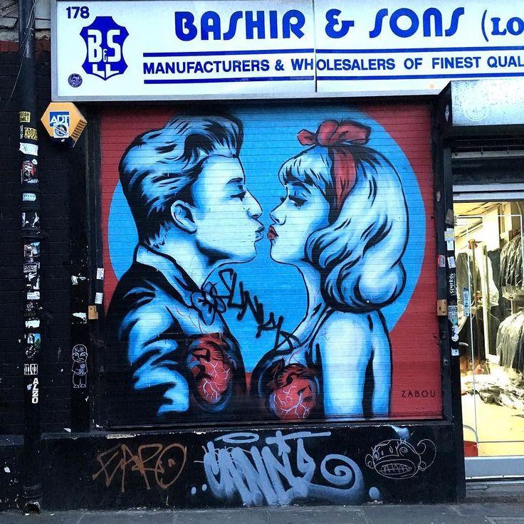 By Zabou (@zabouartist) #london #streetart #rsa_graffiti #tv_streetart #dsb_graff by osteel