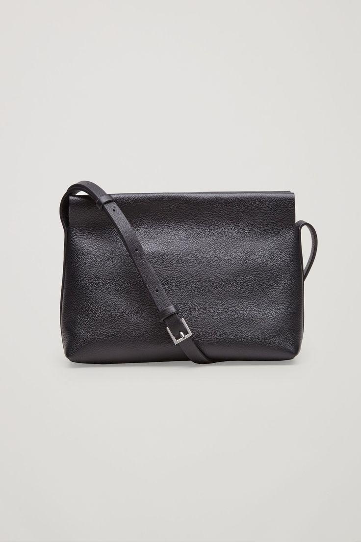 COS image 1 of Textured leather shoulder bag  in Black