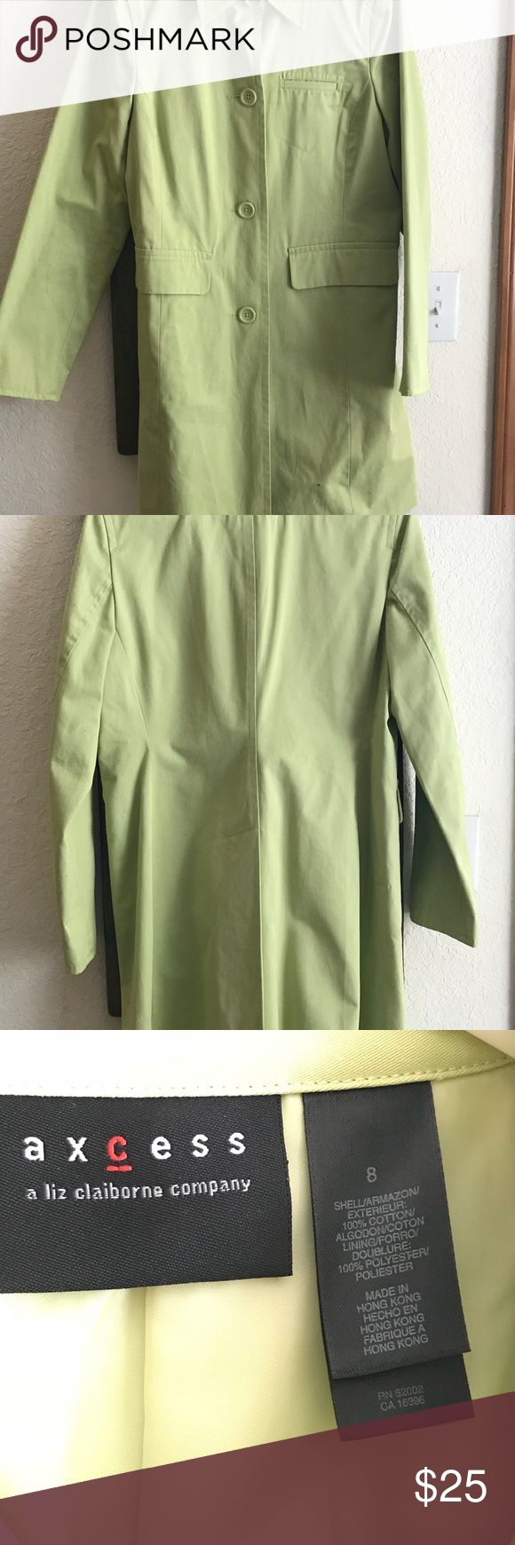 Liz Claiborne dress jacket Gorgeous lime green jacket, perfect for spring    In excellent condition   Only worn a couple of times Liz Claiborne Jackets & Coats Trench Coats