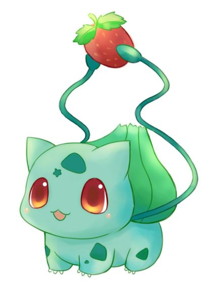 Bulbasaur w/ strawberry. I like how he is holding the strawberry and the little star on his forehead is a cute little addition to his markings.