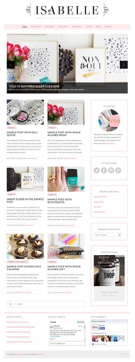 Isabelle WordPress theme - Feminine WordPress Themes
