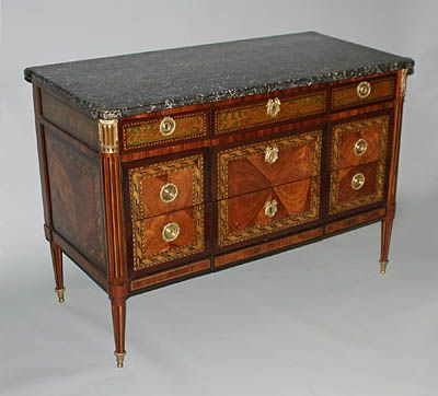 Very Fine French Neoclassical Period Marquetry Commode