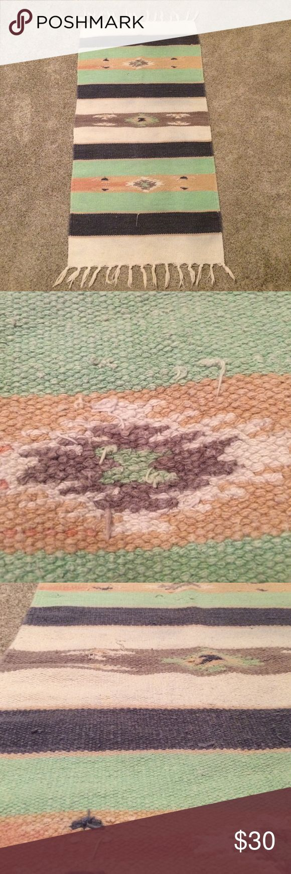 Southwestern tapestry woven wall hanging throw Versatile southwestern style rug or wall hanging decor - loose strings and faded - adds character to the piece - mint blue cream gray tan peach - woven wall hanging Other