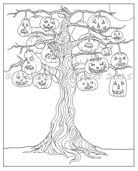 Halloween Tree Coloring Page In 2021 Unicorn Coloring Pages Tree Coloring Page Halloween Coloring