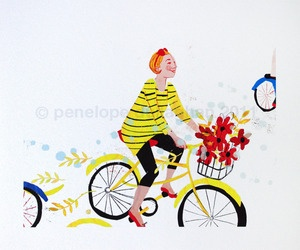 I want to ride my bicycle! Art by one of my favorite artists: Penelope Dullaghan.Favorite Artists, Penelope Dullaghan, Bikes Prints, Bicycle Art, Bicycles Art