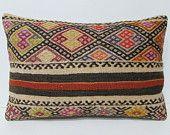 decorative pillow 16x24 ethnic design kilim pillow moroccan pillow cover lumbar support pillow outdoor pillow rug antique throw pillow 27114