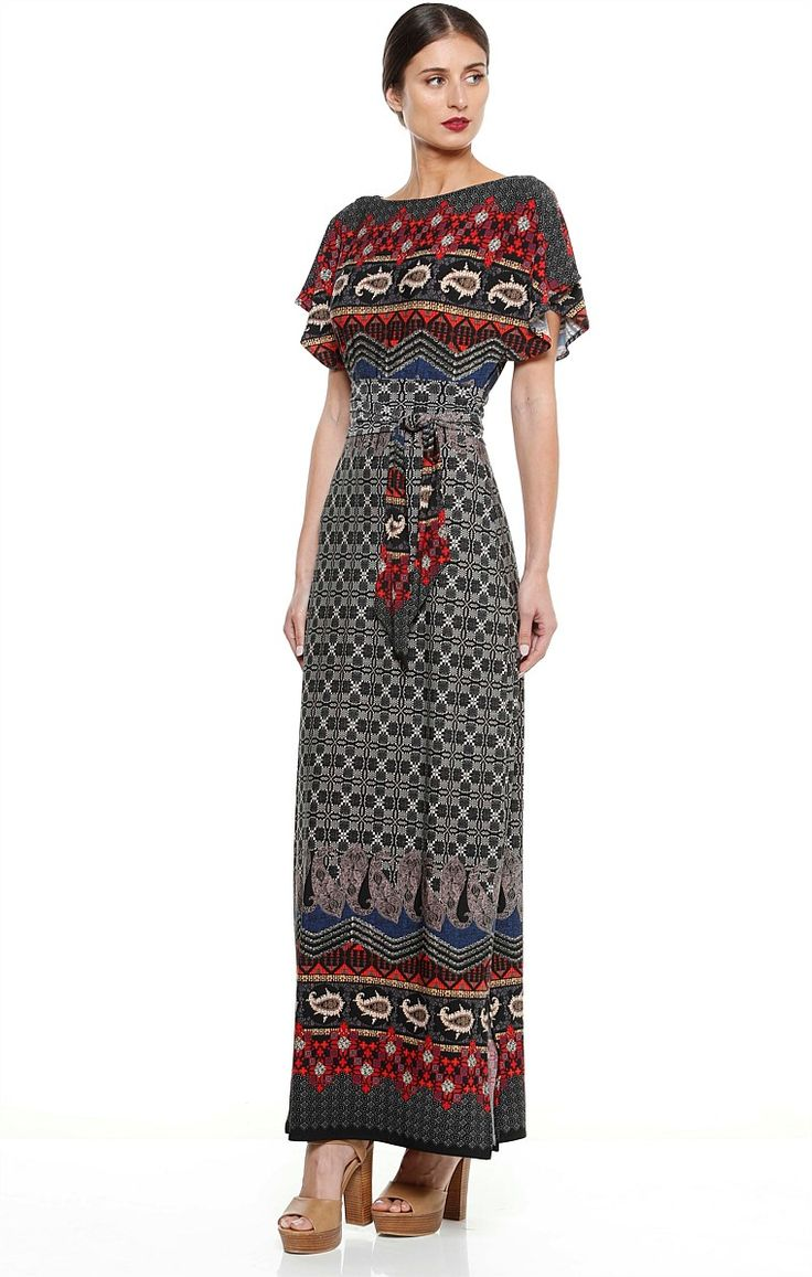VILLA LINA REVERSIBLE FLUTED SLEEVE LONG JERSEY DRESS IN BORDER PRINT