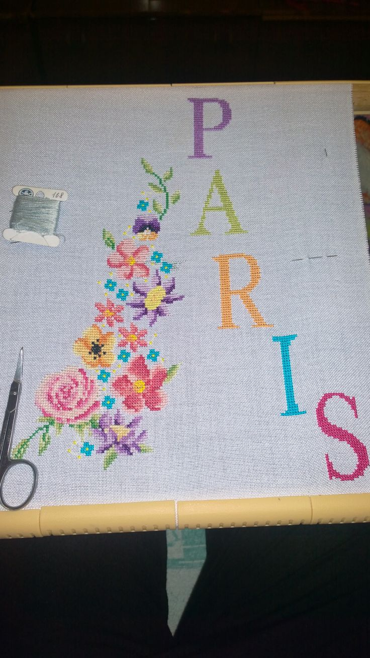 The cover of Paris for my notebook embroidered cross is progressing