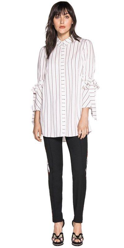 Tops | Stripe Split Cuff Shirt Cue