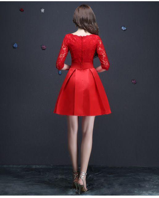 Vestido De Fiesta Rojo de Encaje Media Manga vestido de Noche Corto Elegante vestidos de Novia Banquete Más Tamaño Prom Vestido Formal Robe De Soiree